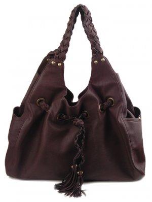 Alexandra Jordan Flat Braided Black Leather Handbag