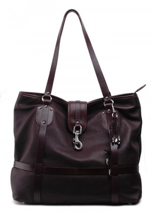 Alexandra Jordan Two-Toned Brown Leather Tote