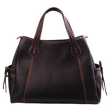 Alexandra Jordan Black Leather Pocket Tote