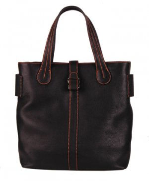Alexandra Jordan Black Leather Tote with Orange Stitching