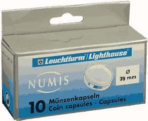 LIGHTHOUSE COIN CAPSULES FOR 39mm COINS PACKAGE OF 10