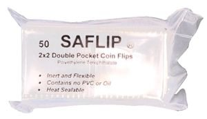 50 SAFLIP 2 POCKET COIN FLIPS 2X2 NO PVC CHEMICAL FREE