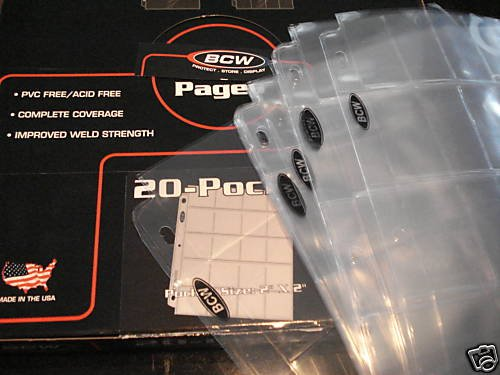 20 pocket vinyl coin  pages bcw lot of 10 made USA