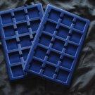 Pack of 2 Blue Velvet Premium Coin Trays for 2x2 Flips