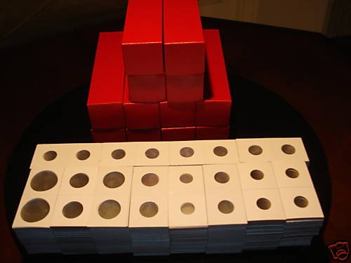 1200  2x2 cardboard coin holders flips with Red boxes