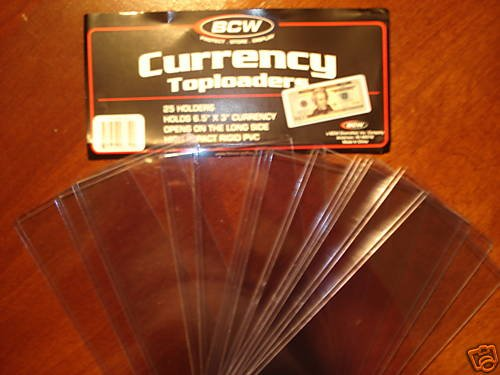 "12- 6.5""x3"" RIGID DOLLAR BILL CURRENCY NOTE HOLDERS NEW"