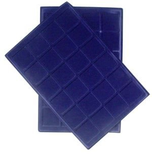 """24 Coin Tray with 1 3/4"""" slots (Set of Two) Blue Velvet"""