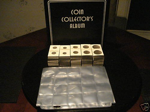 COIN COLLECTING 3 RING ALBUM+ 25 PAGES +503 2X2 HOLDERS