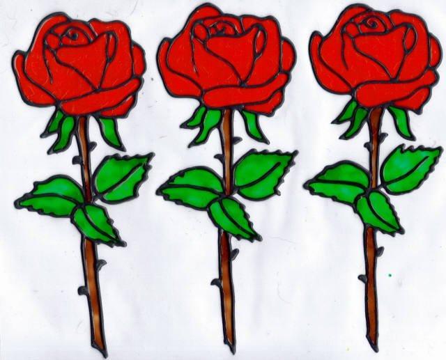 3 red rose set
