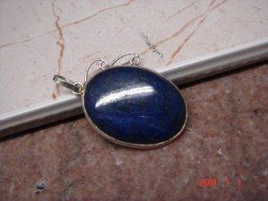 "Persian Lapis .925 sterling silver pendant 1 3/4"""
