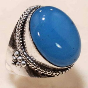 blue chalcedony German silver ring size 8