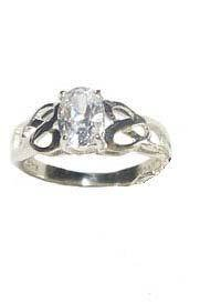 sterling silver filigree solitaire 7 mm CZ ring size 6