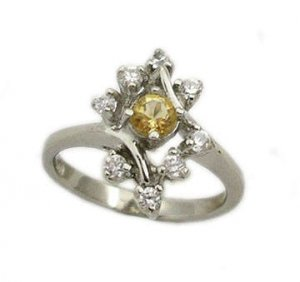 Platinum over sterling silver Citrine ring size 6