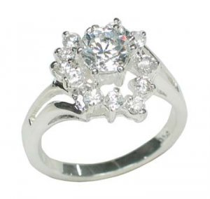 sterling silver CZ cocktail ring Size 6