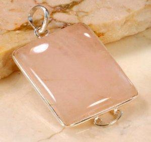 ".925 sterling silver rose quartz pendant 1 5/8"""