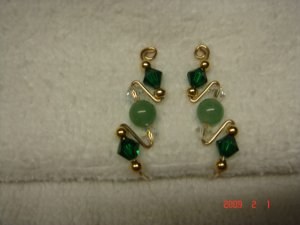 14 K gf Swarovski emerald jade pin/vine/sweep earrings