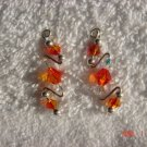 .925 Swarovski topaz crystal pin earrings