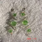 .925 Swarovski peridot crystal pin earrings