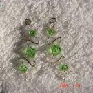 .925 Swarovski peridot crystal pin earrings