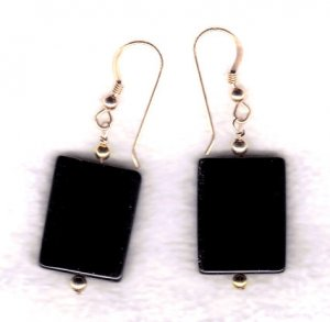 14 k gold filled black onyx dangle earrings 2""