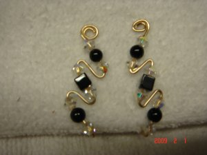 14 K gf Swarovski onyx crystal pin earrings