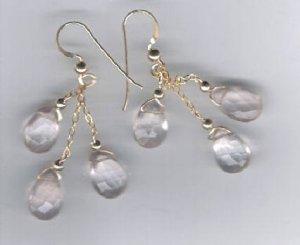 14 kt gold filled pretty delicate rose quartz earrings