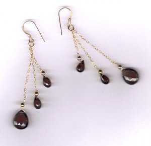 14 kt gold filled delicate dangle smoky topaz earrings