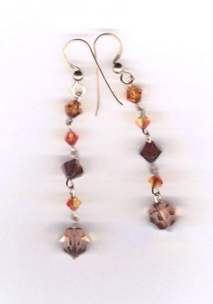 14k gold filled amber swarovski crystal dangle earrings