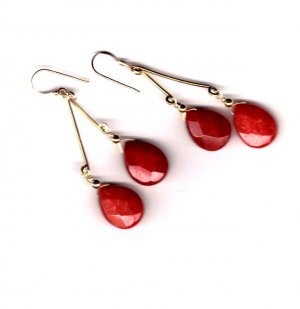 14 k gold filled drop red coral earrings 2 1/2""