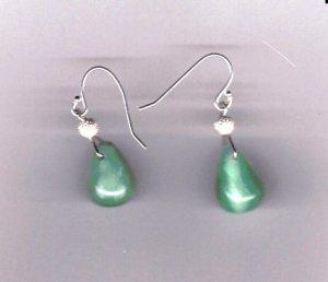 .925 silver dainty jade dangle earrings