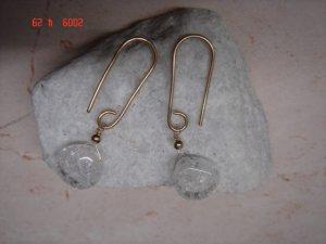 14 k gold filled white topaz dangle earrings