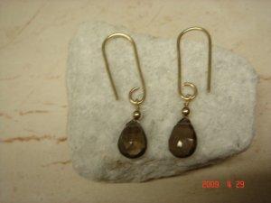 14 k gold filled smoky topaz dangle earrings