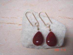 14 k gold filled ruby dangle earrings