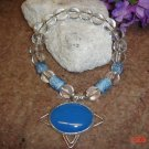 Blue chalcedony & sterling pendant on a 8 in. pet necklace