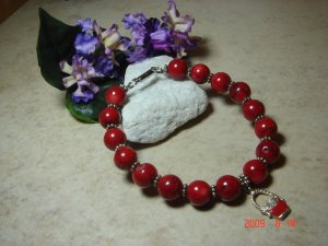Genuine red sea coral pet necklace size 9