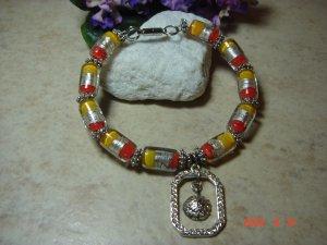 pretty yellow & orange pet necklace size 9