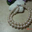 white and pale pink faux pearl pet necklace size 8