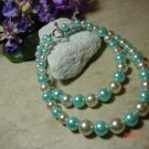 aqua & white faux pear pet necklace size 8