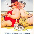 Fat Lady Postcard - 51 Weeks Works', 1 Week's Holiday - Bamforth (A186)