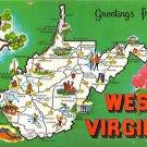 West Virginia Greetings - Map Postcard (A375)