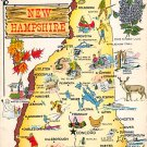 New Hampshire Greetings - Map Postcard (A380)