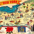 New York Greetings - Map Postcard (A384)
