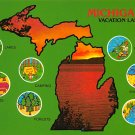 Michigan Vacation Land - Map Postcard (A396)