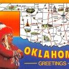 Oklahoma Greetings - Map Postcard (A398)