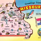 Missouri Greetings From - Map Postcard (A407)