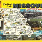 Missouri Greetings From - Map Postcard (A408)