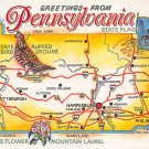 Pennsylvania Greetings From - Map Postcard (A413)