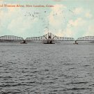 New London, Conn, CT Postcard - R.R. Bridge, Thames River 1911 (A633)
