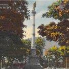 Shamokin, PA Postcard - Lincoln Street Monument (A742) Penna, Pennsylvania