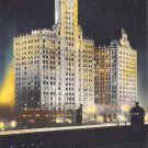 Chicago, Ill Postcard Wrigley Building at Night 1957 (B756) IL, Illinois